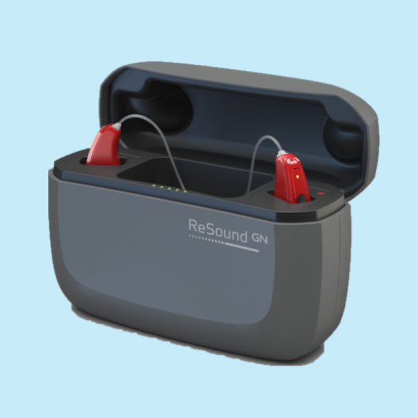 resound quattro hearing aids in charger case